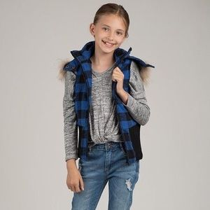 Other - Girls' Black/Blue Check Plaid Lined Hooded Vest